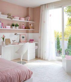 Dormitorio infantil con paredes en rosa