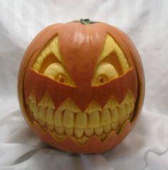teeth pumpkin | pumpkin carvings. Notice the improvement in the carving of the teeth ...