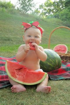 Watermelon photo shoot ! 6 months old baby girl