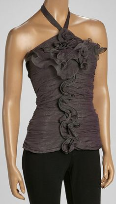 Gray Convertible Silk-Blend Strapless Top. I am really liking this shirt