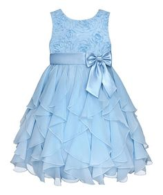 Look what I found on #zulily! Ice Blue Rosette Ruffle Dress - Infant, Toddler & Girls #zulilyfinds