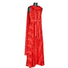 orange and red silk chiffon reptile print gown and scarf