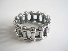 Stainless Steel Bike Chain Motorbike Ring - Biker Jewellery