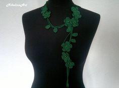 Crochet Necklace,Crochet Neck Accessory, Flower Necklace, Dark Green, 100% Cotton.