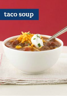 Taco Soup – Veggies and beef get a little heat and a lot of flavor—with less than 30 minutes on the stove—to make a dish that looks like soup but tastes like tacos.