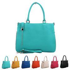 NEW Women w/Lock Shoulder Bag Tote Messenger Cross Body Handbag PU Leather