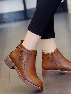 6149993555 Double Buckle Heeled BootsFor Women-romwe