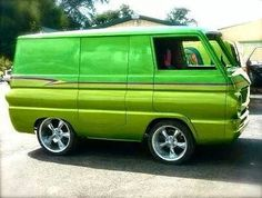 A modern take on the classic 70's Boogie Van. Shaved door handles, custom front end grille work, custom candy paint and low profile tires just to name a few of the obvious mods. Wonder what the interior is like?