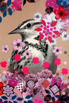 bird and flowers // by kup kup land