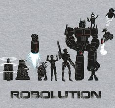 Robolution by @Sam Eldridge. Cool tshirt for robots fans featuring robot or robot-like characters from various shows and movies. Available for $10 for a limited time @RIPT Apparel at riptapparel.com #robot #doctorwho #dalek #starwars #r2d2 #c3po #terminator #transformers #optimusprime #megaman #futurama #bender #walle #eve #tshirt #shirt #arte #art #illustration #draw #apparel #design #clothing #nerd #geek