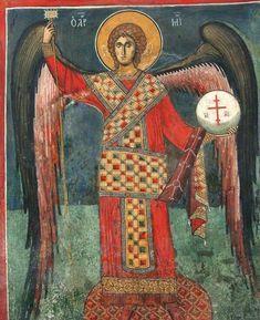 San Miguel o Gabriel ? Michael Angel, Archangel Michael, St Michael, Byzantine Icons, Byzantine Art, Religious Icons, Religious Art, Gabriel, Cemetery Statues