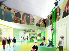 A modern kindergarten is a preschool educational approach traditionally based around playing, singing, practical activities such as drawing, and social interaction as part of the transition from home to school. Kindergarten Interior, Kindergarten Projects, Kindergarten Design, Home Design, Design Ideas, Early Childhood Centre, Learning Spaces, Learning Environments, Library Design