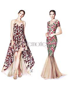 Marchesa, Marchesa Notte, fashion art by DollMemoriesArt
