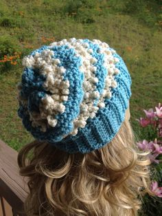 Slouchy Beanie,  Teal and Off White, slouch hat on Etsy, $30.00
