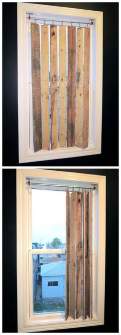 4 Fabulous Tips: Vertical Blinds Diy blinds for windows wooden.Blinds For Windows Home Depot blinds ideas sewing machines.Blinds Curtain No Sew. Wooden Pallet Projects, Pallet Crafts, Pallet Ideas, Wood Crafts, Unique Home Decor, Home Decor Items, Palette Diy, Wood Pallets, Pallet Wood