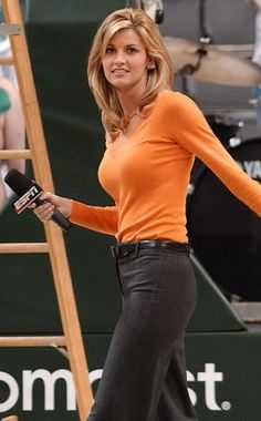 "Erin Andrews.    She's the hottest reporter in all of sports. It's no wonder that Playboy magazine ranked her in 2007 as ""America's Sexiest Sportscaster,"" beating out Lindsay Soto and Krista Voda. Andrews garnered almost 40% of the vote from the user-determined contest."