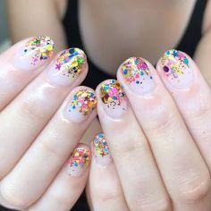 "Hey, Nice Nails! on Instagram: ""Graduation Confetti for Emily 🌈✨💕🤤 #glitternails #longbeach #heynicenails"""