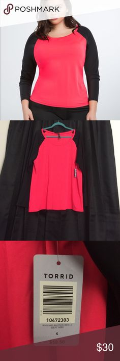 Swim Suit Raglan Style Rash Guard Torrid size 4 in a bright red and black raglan style rash guard. This would be swimwear and it super cute. New with Tags!! From a dog friendly and smoke free home. Only reasonable offers considered. torrid Swim