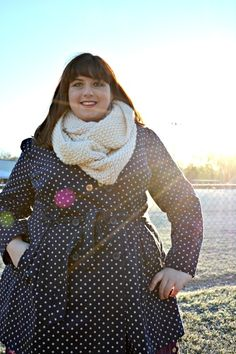Community member, Becca, is looking fresh in our Capital Class Coat. #polkadots #trenchcoat