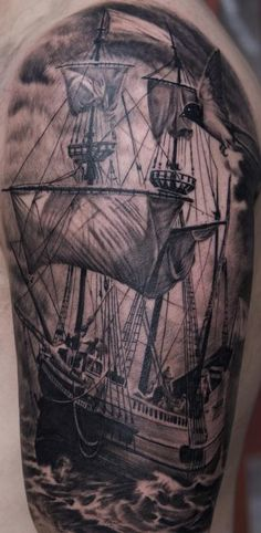 I definately want a ship tattoo it is on my to do list.  However I do not do small pieces and my current one is at least two more sittings. # Black and Gray Ship tattoo