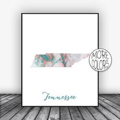 Tennessee Print Tennessee Art Print Tennessee Map Art Marble