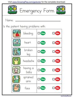Print this emergency form to combine early literacy with playing doctor
