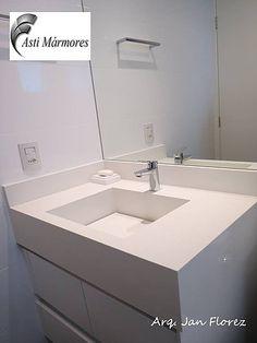 asti-marmores | Banheiros Lavatório em Branco Prime. arquiteto Jan Florez #astimarmores #cubadepedra #brancoprime #janflorez