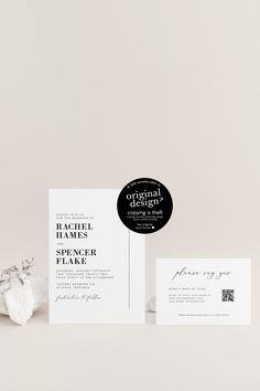 Using an online RSVP for wedding invitations? Our modern, printable wedding invitation template with a QR code RSVP card are perfect for getting your guests all the info they need!