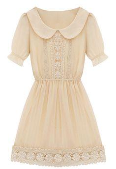 Vestido gasa crochet-Crudo EUR26.66