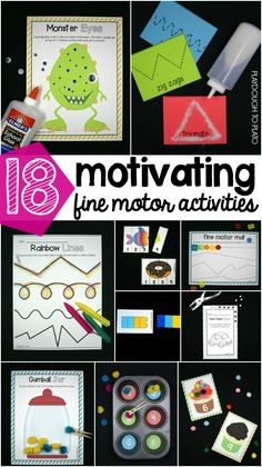 18 motivating fine motor activities for preschool and kindergarten! Fun ways to build hand-eye coordination, hand strength and grasp for writing later. Fine Motor Activities For Kids, Motor Skills Activities, Gross Motor Skills, Preschool Learning, Sensory Activities, In Kindergarten, Learning Activities, Preschool Activities, Teaching