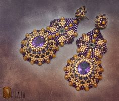 Amethyst and Gold Fill Statement Swarovski by OhlalaJewelry