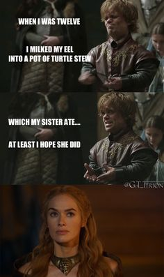 Haha! Tyrion's confession!
