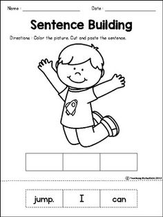 Sentence Building- Cut out the words and rearrange them to