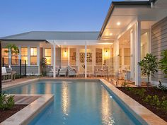 Sold Price for 12 Sanctuary Grove Drive Buderim Qld 4556 Backyard Pool Landscaping, Swimming Pools Backyard, Pool Pavers, Courtyard Pool, Backyard Designs, Pool Designs, Porches, Weatherboard Exterior, Hamptons Style Homes