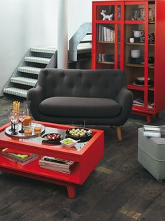 canap s rouge and salons on pinterest. Black Bedroom Furniture Sets. Home Design Ideas
