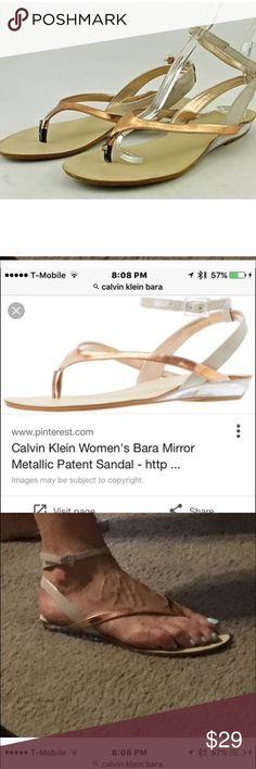 """Calvin Klein Rose Gold """"Bara"""" Sandal 9 💥 These sandals are so special and different. Lucite heel with slight lift accentuates the foot.  Ever so slightly worn but just too big for me.💥Free💥 Gift with purchases over $50 and $75 check so check them out and tag me after purchasing and I'll add to your shipment. Calvin Klein Shoes Sandals"""