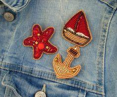 """Купить Набор брошей """"Морячка"""" - комбинированный, брошь, брошь ручной работы, море, морская тема"""