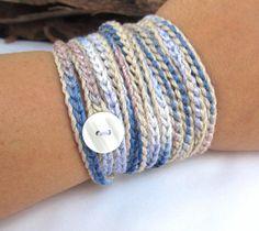 Crochet bracelet wrap bracelet crochet necklace by CoffyCrochet