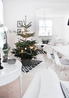 minimal tree and scandinavian living room--image via Lise Sibbern