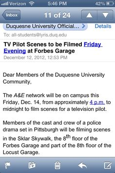 posted by @julieg1315 (thanks!) at Duquesne - was a huge kerfuffle today amongst the female students thinking they would have Channing Tatum filming in their campus.