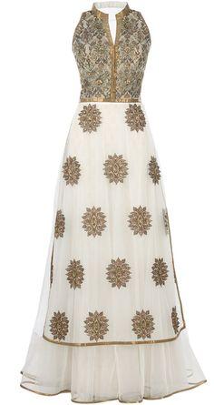 J J VALAYA Ivory embroidered long kurta with skirt