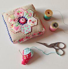 sew, craft, strawberry pincushion, hexi quilt, strawberries