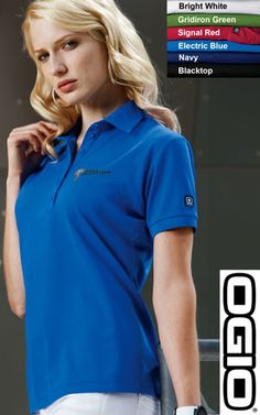 #ogio #jewel #ladies #polos $30.98 Impeccably designed for wonder women everywhere, the Jewel has a contoured fit and streamlined style.  Features: 5-ounce; 100% poly with stay-cool wicking technology; OGIO heat transfer label for tag free comfort; self-fabric collar; OGIO jacquard neck tape; 6-button placket with OGIO dyed-to-match buttons; rib knit cuffs; OGIO badge on left sleeve.  http://ezcorporateclothing.com/custom/66-Ladies-Polos/1587-OGIO-Ladies%27-Jewel-Polo/