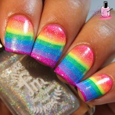 Neon Rainbow Watermarble Nails