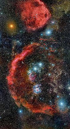 Cradled in cosmic dust and glowing hydrogen, stellar nurseries in Orion the Hunter lie at the edge of a giant molecular cloud some 1,500 light-years away.