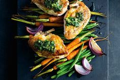 Roast chicken with spicy green butter