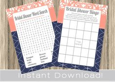 BRIDAL Shower Games Set / Bingo and Word Search by PrimoPrintables, $8.00