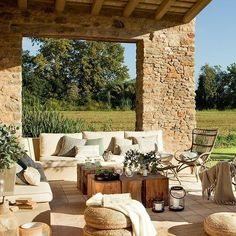 """#sunny #stone #terrace #rustic #outdoors #living #garden #acasa via El Mueble"""