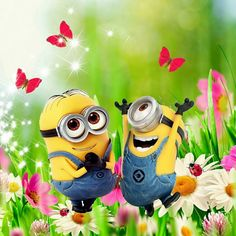 Minions in spring! Minions Fans, Cute Minions, Minions Despicable Me, Minions Quotes, Minions 2014, Funny Minion, Minion Humor, Minion Rock, My Minion