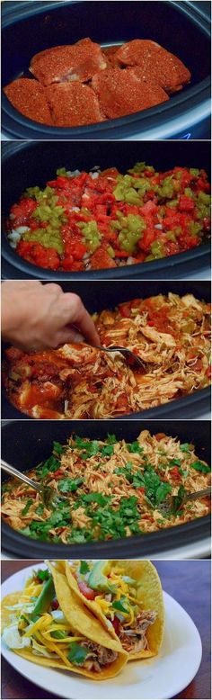 Chicken Crock pot Recipes Chicken Crockpot recipes – Page 4 – Weight Loss Plans: Keto No Carb Low Carb Gluten-free Weightloss Desserts Snacks Smoothies Breakfast Dinner… Crock Pot Chicken Tacos Crock Pot Recipes, Crock Pot Food, Chicken Taco Recipes, Crockpot Dishes, Crock Pot Slow Cooker, Slow Cooker Recipes, Mexican Food Recipes, Cooking Recipes, Healthy Recipes